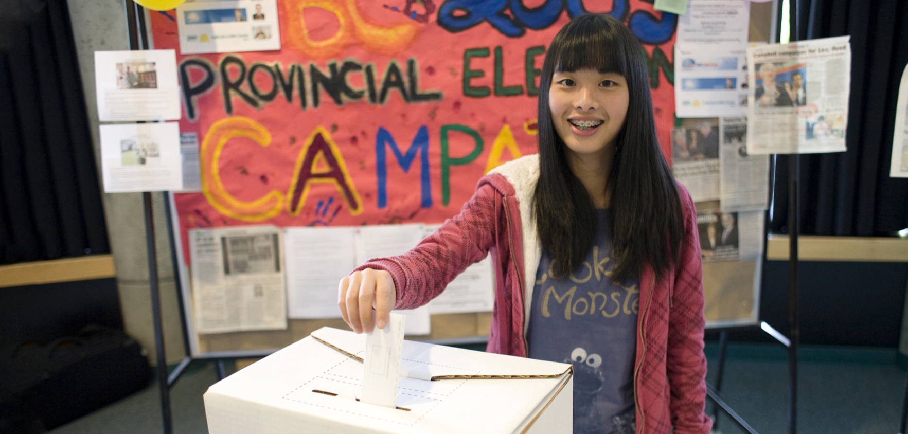 Students submitting their ballots